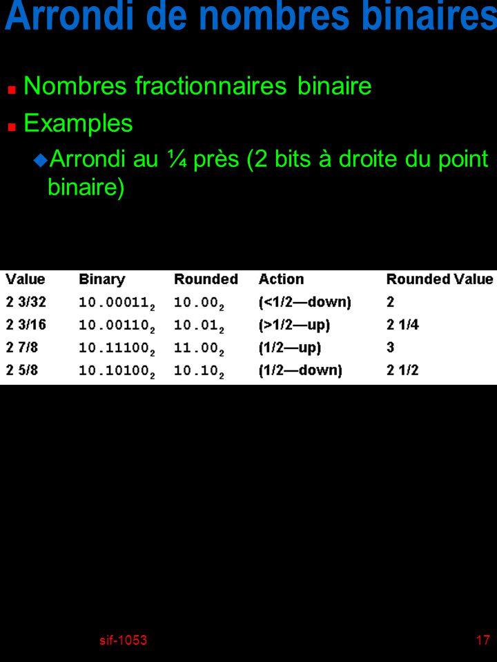 sif-105317 Arrondi de nombres binaires n Nombres fractionnaires binaire n Examples u Arrondi au ¼ près (2 bits à droite du point binaire)