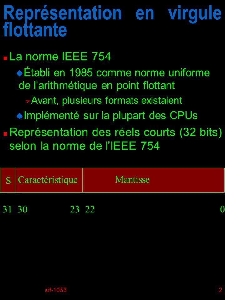 sif-10532 Représentation en virgule flottante n La norme IEEE 754 u Établi en 1985 comme norme uniforme de larithmétique en point flottant F Avant, plusieurs formats existaient u Implémenté sur la plupart des CPUs n Représentation des réels courts (32 bits) selon la norme de lIEEE 754 S Caractéristique Mantisse 31 30 23 22 0