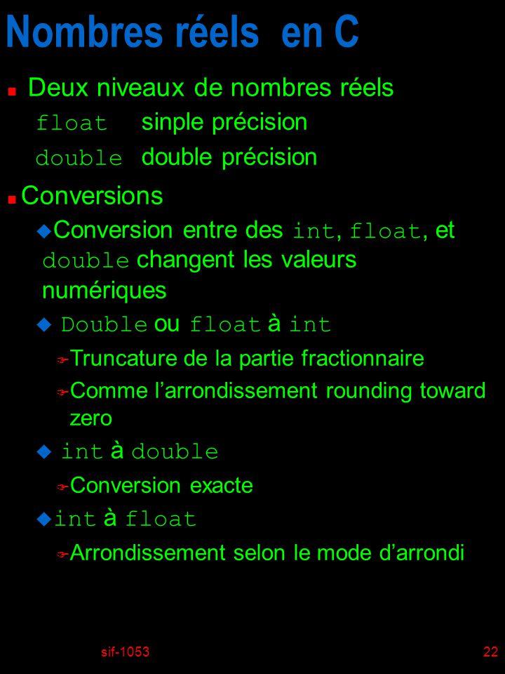 sif-105322 Nombres réels en C n Deux niveaux de nombres réels float sinple précision double double précision n Conversions Conversion entre des int, f