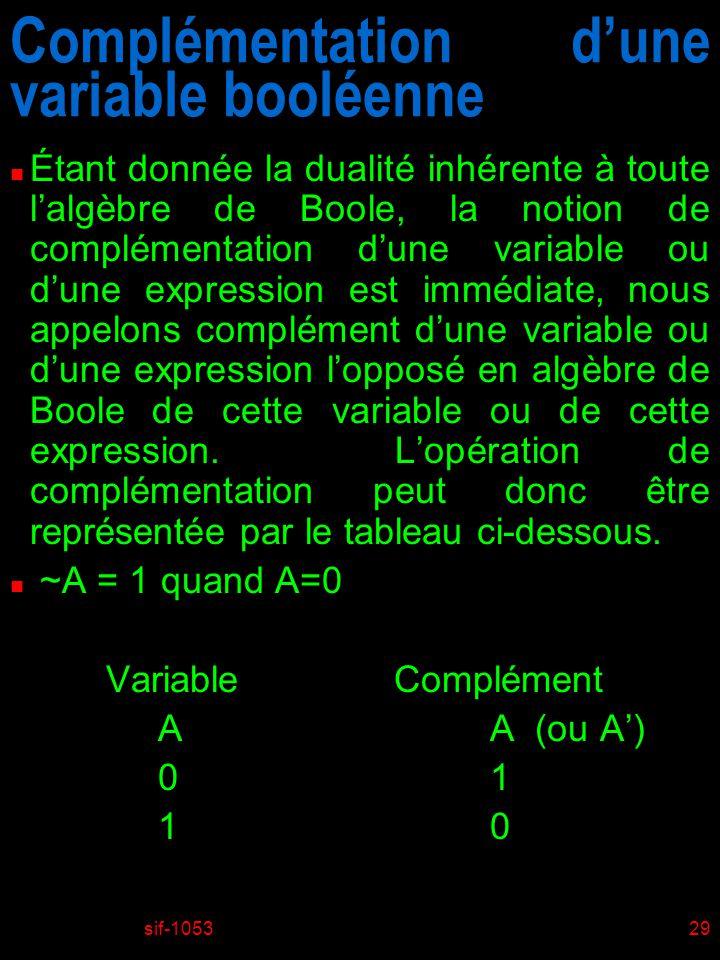 sif-105329 Complémentation dune variable booléenne n Étant donnée la dualité inhérente à toute lalgèbre de Boole, la notion de complémentation dune variable ou dune expression est immédiate, nous appelons complément dune variable ou dune expression lopposé en algèbre de Boole de cette variable ou de cette expression.