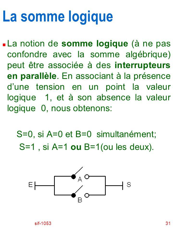 sif-105331 La somme logique n La notion de somme logique (à ne pas confondre avec la somme algébrique) peut être associée à des interrupteurs en parallèle.