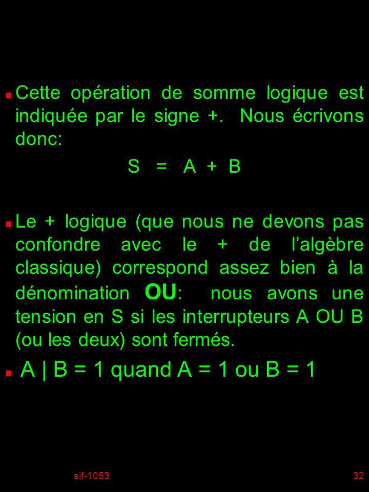 sif-105332 n Cette opération de somme logique est indiquée par le signe +. Nous écrivons donc: S = A + B n Le + logique (que nous ne devons pas confon