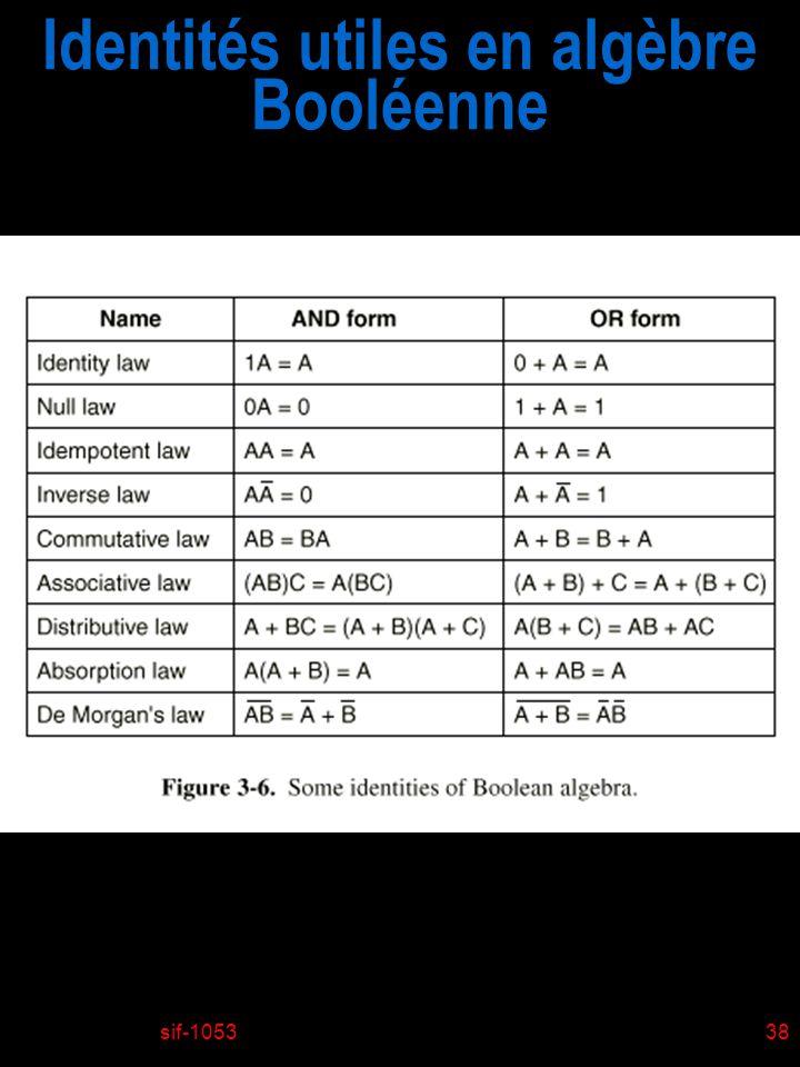 sif-105338 Identités utiles en algèbre Booléenne