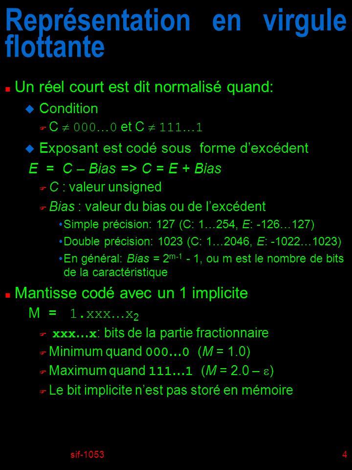 sif-10534 Représentation en virgule flottante n Un réel court est dit normalisé quand: u Condition C 000 … 0 et C 111 … 1 u Exposant est codé sous forme dexcédent E = C – Bias => C = E + Bias C : valeur unsigned F Bias : valeur du bias ou de lexcédent Simple précision: 127 (C: 1…254, E: -126…127) Double précision: 1023 (C: 1…2046, E: -1022…1023) En général: Bias = 2 m-1 - 1, ou m est le nombre de bits de la caractéristique n Mantisse codé avec un 1 implicite M = 1.xxx … x 2 xxx … x : bits de la partie fractionnaire Minimum quand 000 … 0 (M = 1.0) Maximum quand 111 … 1 (M = 2.0 – ) F Le bit implicite nest pas storé en mémoire