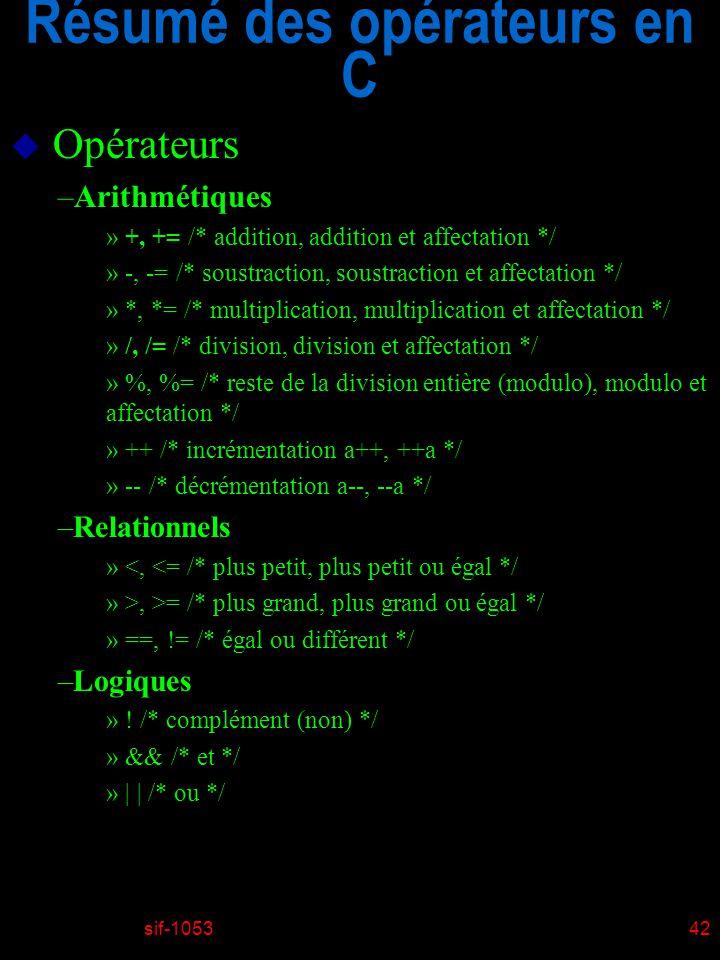 sif-105342 Résumé des opérateurs en C u Opérateurs –Arithmétiques » +, += /* addition, addition et affectation */ » -, -= /* soustraction, soustractio