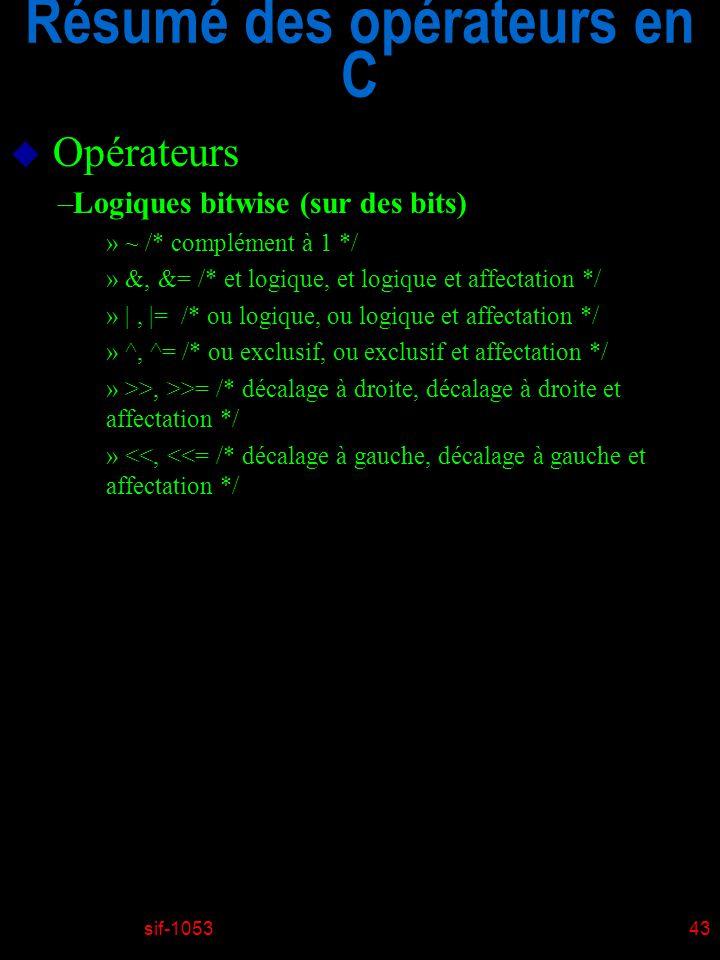 sif-105343 Résumé des opérateurs en C u Opérateurs –Logiques bitwise (sur des bits) » ~ /* complément à 1 */ » &, &= /* et logique, et logique et affectation */ » |, |= /* ou logique, ou logique et affectation */ » ^, ^= /* ou exclusif, ou exclusif et affectation */ » >>, >>= /* décalage à droite, décalage à droite et affectation */ » <<, <<= /* décalage à gauche, décalage à gauche et affectation */