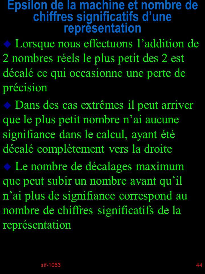 sif-105344 Epsilon de la machine et nombre de chiffres significatifs dune représentation u Lorsque nous effectuons laddition de 2 nombres réels le plus petit des 2 est décalé ce qui occasionne une perte de précision u Dans des cas extrêmes il peut arriver que le plus petit nombre nai aucune signifiance dans le calcul, ayant été décalé complètement vers la droite u Le nombre de décalages maximum que peut subir un nombre avant quil nai plus de signifiance correspond au nombre de chiffres significatifs de la représentation