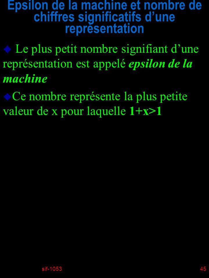 sif-105345 Epsilon de la machine et nombre de chiffres significatifs dune représentation u Le plus petit nombre signifiant dune représentation est appelé epsilon de la machine u Ce nombre représente la plus petite valeur de x pour laquelle 1+x>1