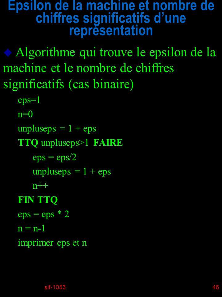sif-105346 Epsilon de la machine et nombre de chiffres significatifs dune représentation u Algorithme qui trouve le epsilon de la machine et le nombre