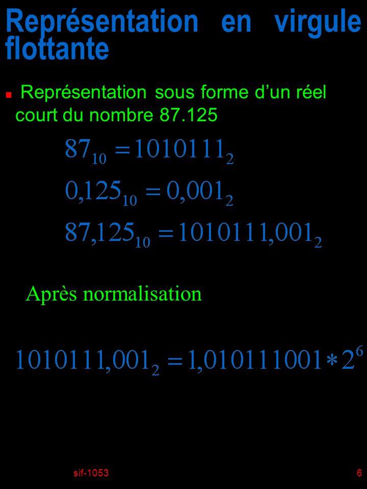 sif-10537 Représentation en virgule flottante n Représentation sous forme dun réel court du nombre 87.125 Mantisse avec le 1 implicite Exposant Mantisse entreposée Caractéristique