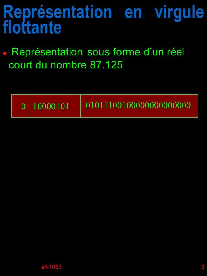 sif-105339 Exemples n Opérations sur plusieurs bits u Opérations appliquées bit à bit 01101001 & 01010101 01000001 01101001 | 01010101 01111101 01101001 ^ 01010101 00111100 ~ 01010101 10101010