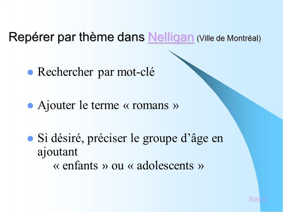 Repérer par thème dans Nelligan (Ville de Montréal) Nelligan Rechercher par mot-clé Ajouter le terme « romans » Si désiré, préciser le groupe dâge en ajoutant « enfants » ou « adolescents » Retour