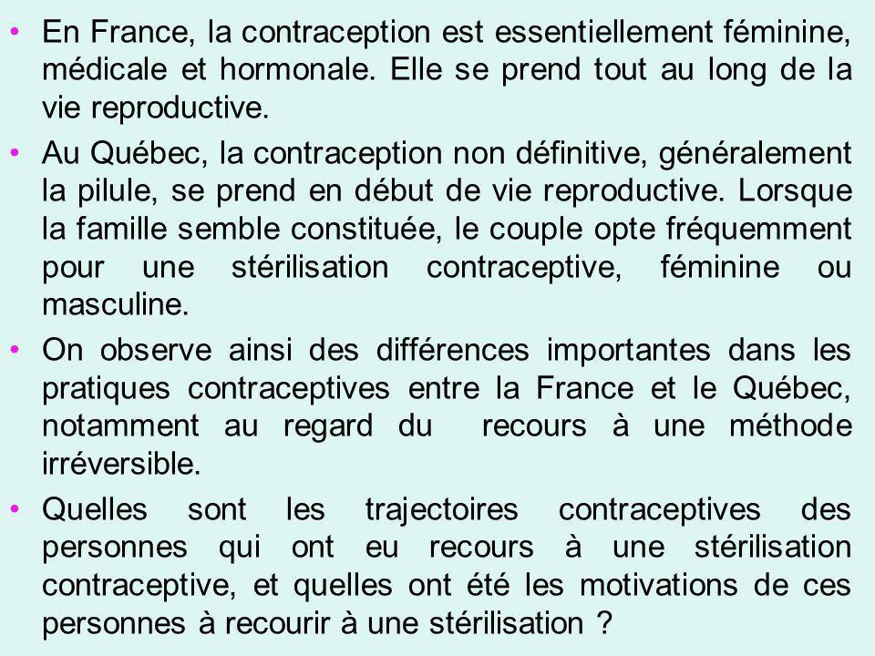 En France, la contraception est essentiellement féminine, médicale et hormonale. Elle se prend tout au long de la vie reproductive. Au Québec, la cont