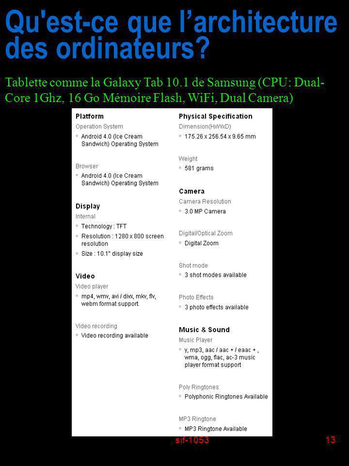 sif-105313 Qu'est-ce que larchitecture des ordinateurs? Tablette comme la Galaxy Tab 10.1 de Samsung (CPU: Dual- Core 1Ghz, 16 Go Mémoire Flash, WiFi,