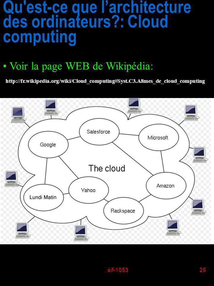 sif-105325 Qu'est-ce que larchitecture des ordinateurs?: Cloud computing Voir la page WEB de Wikipédia: http://fr.wikipedia.org/wiki/Cloud_computing#S