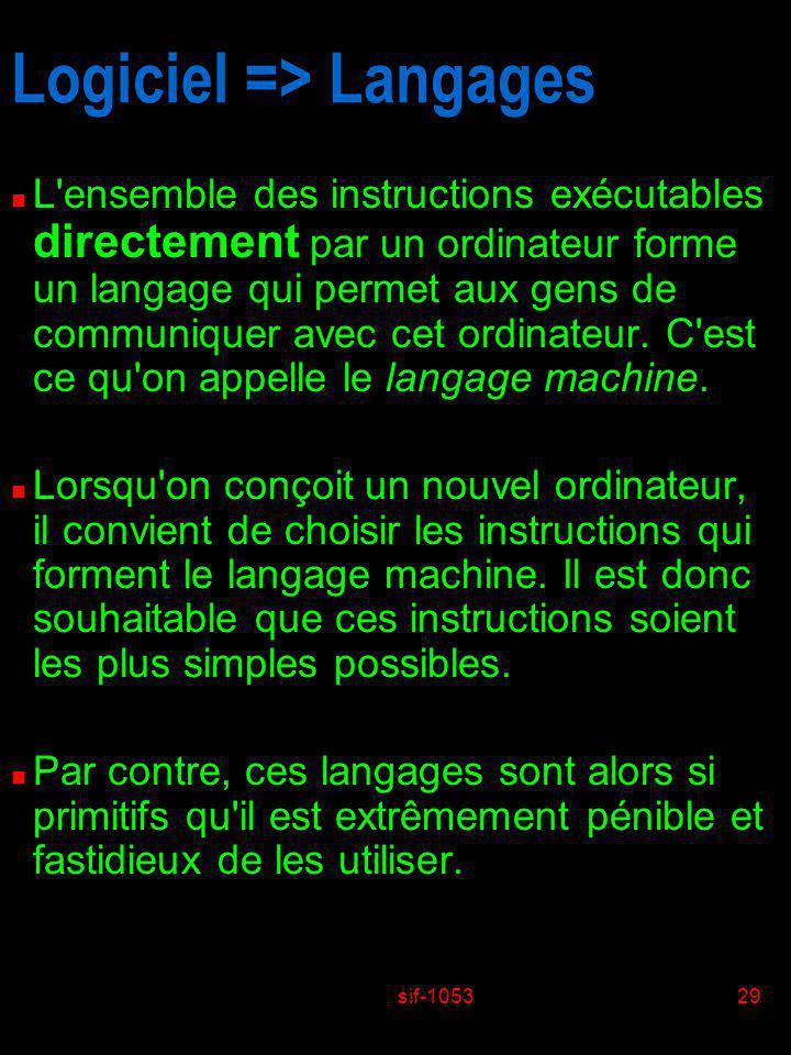 sif-105329 Logiciel => Langages n L'ensemble des instructions exécutables directement par un ordinateur forme un langage qui permet aux gens de commun