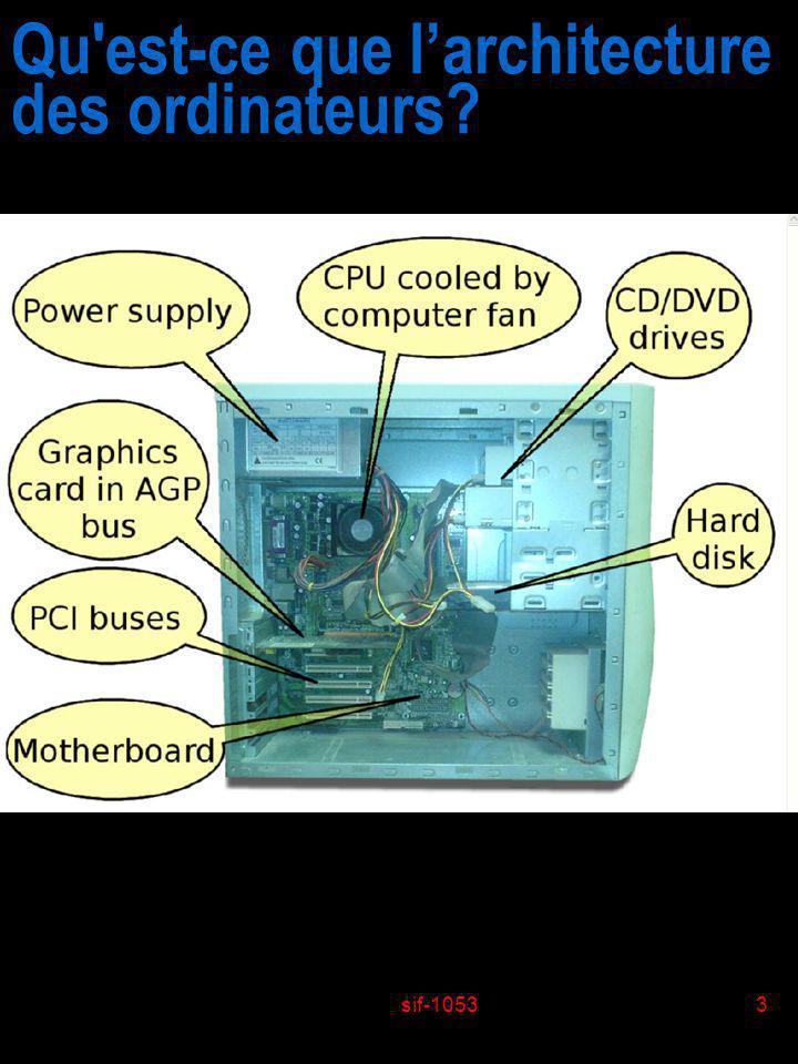 sif-10533 Qu'est-ce que larchitecture des ordinateurs?