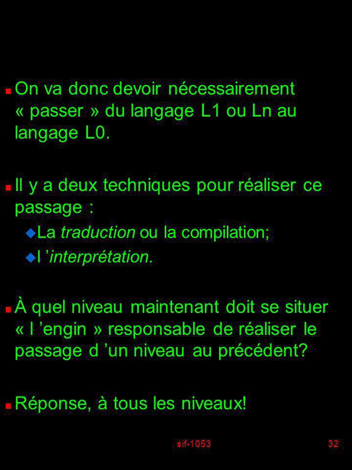 sif-105332 n On va donc devoir nécessairement « passer » du langage L1 ou Ln au langage L0. n Il y a deux techniques pour réaliser ce passage : u La t