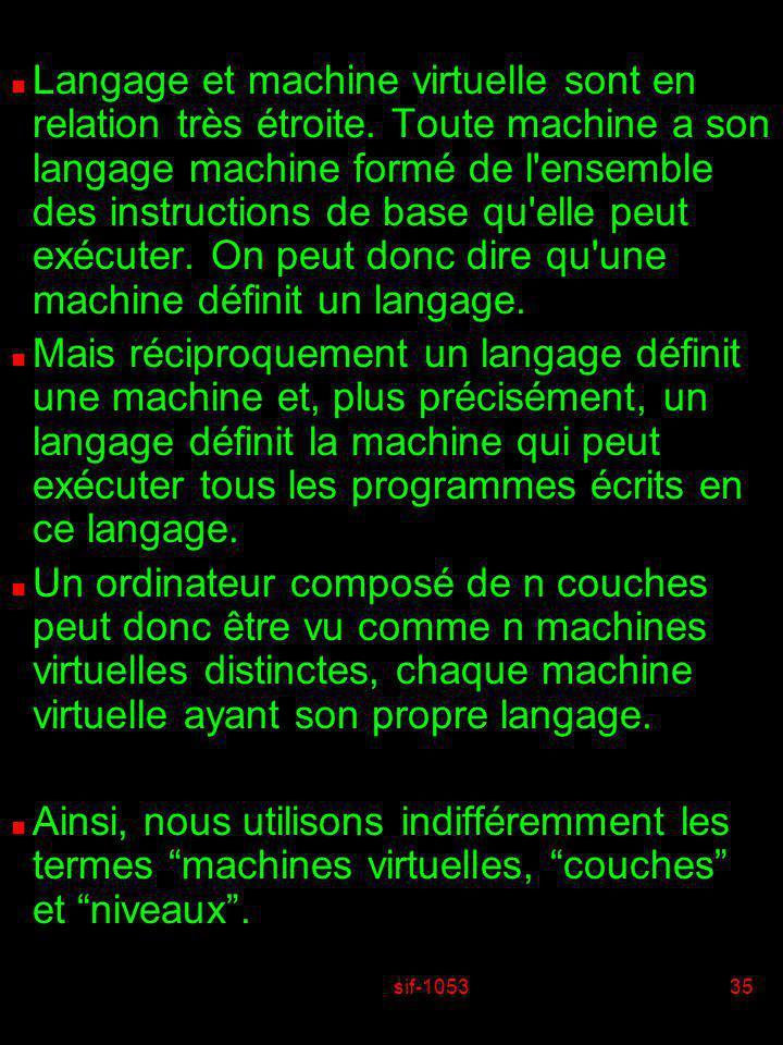 sif-105335 n Langage et machine virtuelle sont en relation très étroite. Toute machine a son langage machine formé de l'ensemble des instructions de b