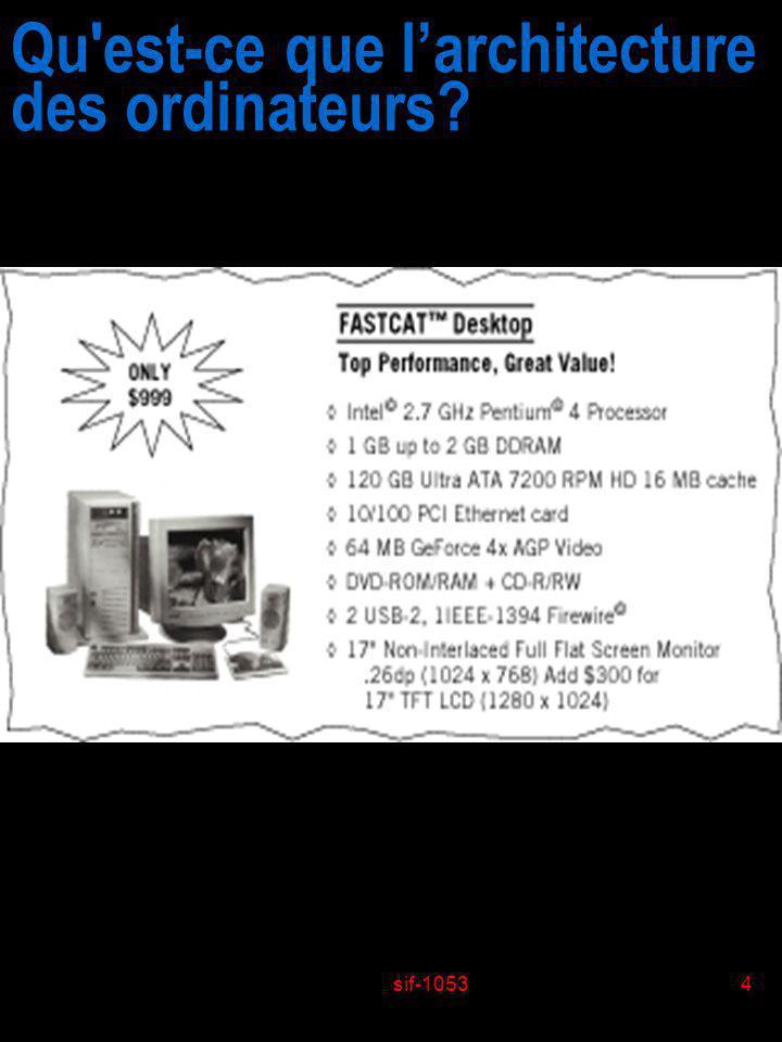 sif-10534 Qu'est-ce que larchitecture des ordinateurs?