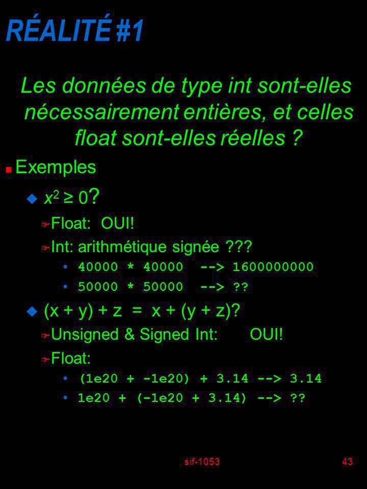 sif-105343 RÉALITÉ #1 Les données de type int sont-elles nécessairement entières, et celles float sont-elles réelles ? n Exemples u x 2 0 ? F Float: O