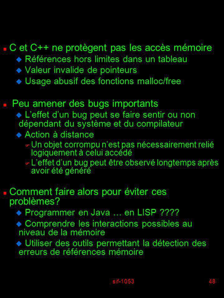 sif-105348 n C et C++ ne protègent pas les accès mémoire u Références hors limites dans un tableau u Valeur invalide de pointeurs u Usage abusif des f