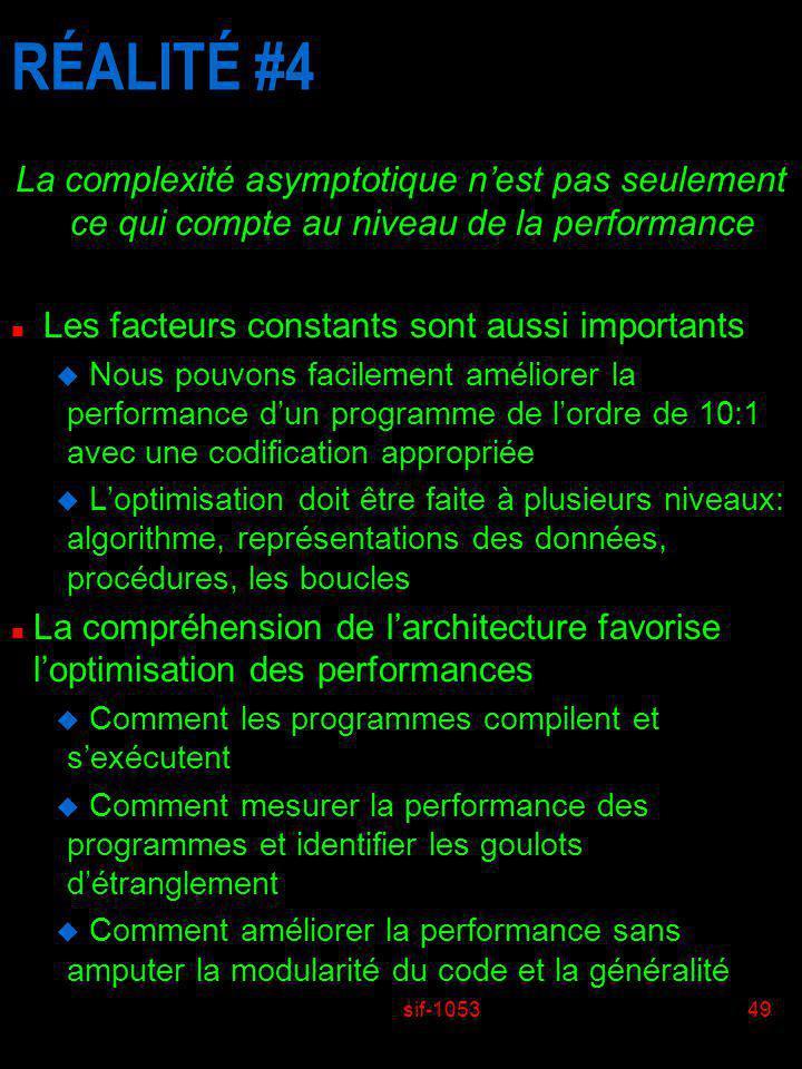 sif-105349 RÉALITÉ #4 La complexité asymptotique nest pas seulement ce qui compte au niveau de la performance n Les facteurs constants sont aussi impo