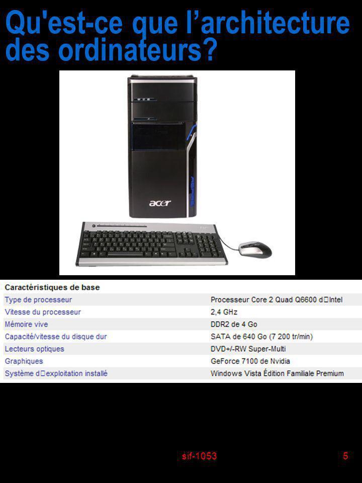 sif-10535 Qu'est-ce que larchitecture des ordinateurs?