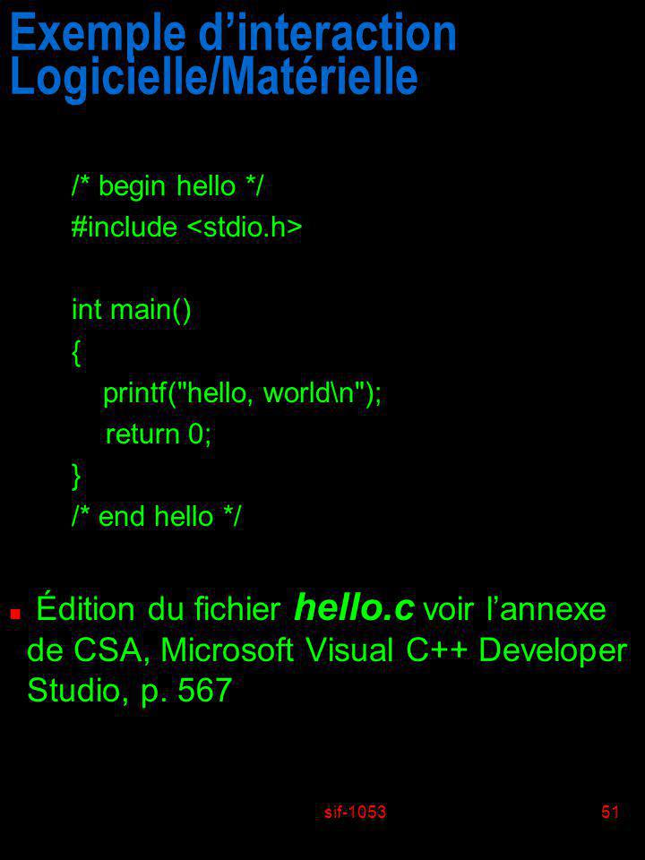 sif-105351 Exemple dinteraction Logicielle/Matérielle /* begin hello */ #include int main() { printf(