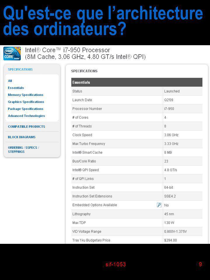 sif-10539 Qu'est-ce que larchitecture des ordinateurs?