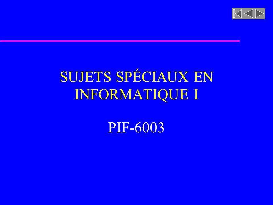 SUJETS SPÉCIAUX EN INFORMATIQUE I PIF-6003