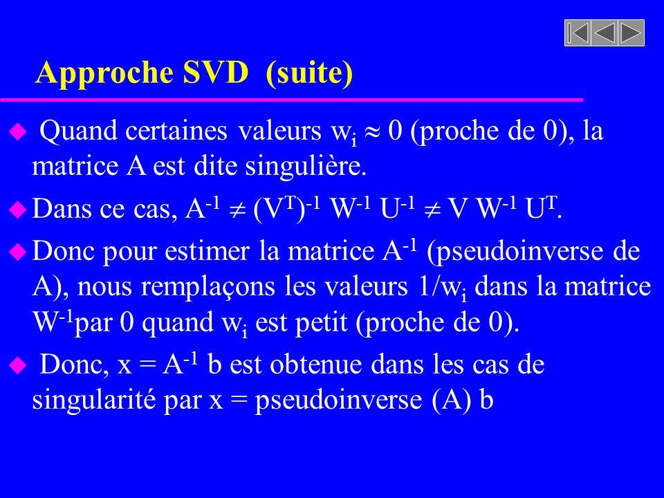 Approche SVD (suite) u Quand certaines valeurs w i 0 (proche de 0), la matrice A est dite singulière. u Dans ce cas, A -1 (V T ) -1 W -1 U -1 V W -1 U