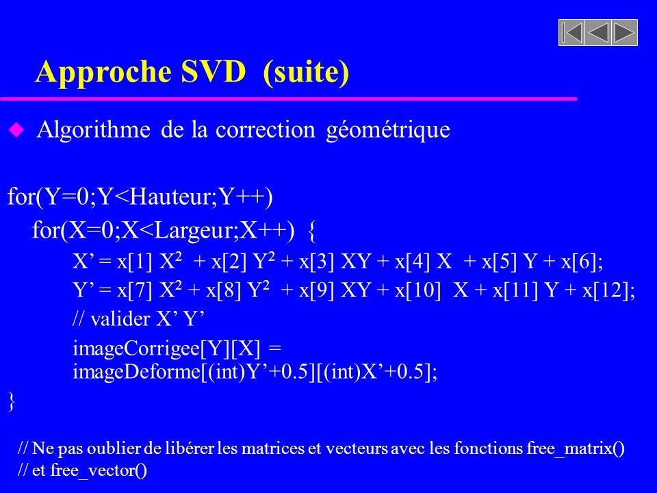 Approche SVD (suite) u Algorithme de la correction géométrique for(Y=0;Y<Hauteur;Y++) for(X=0;X<Largeur;X++) { X = x[1] X 2 + x[2] Y 2 + x[3] XY + x[4