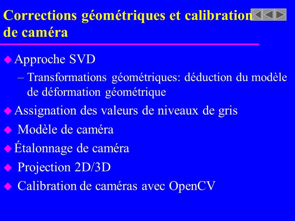 Corrections géométriques et calibration de caméra u Approche SVD –Transformations géométriques: déduction du modèle de déformation géométrique u Assig