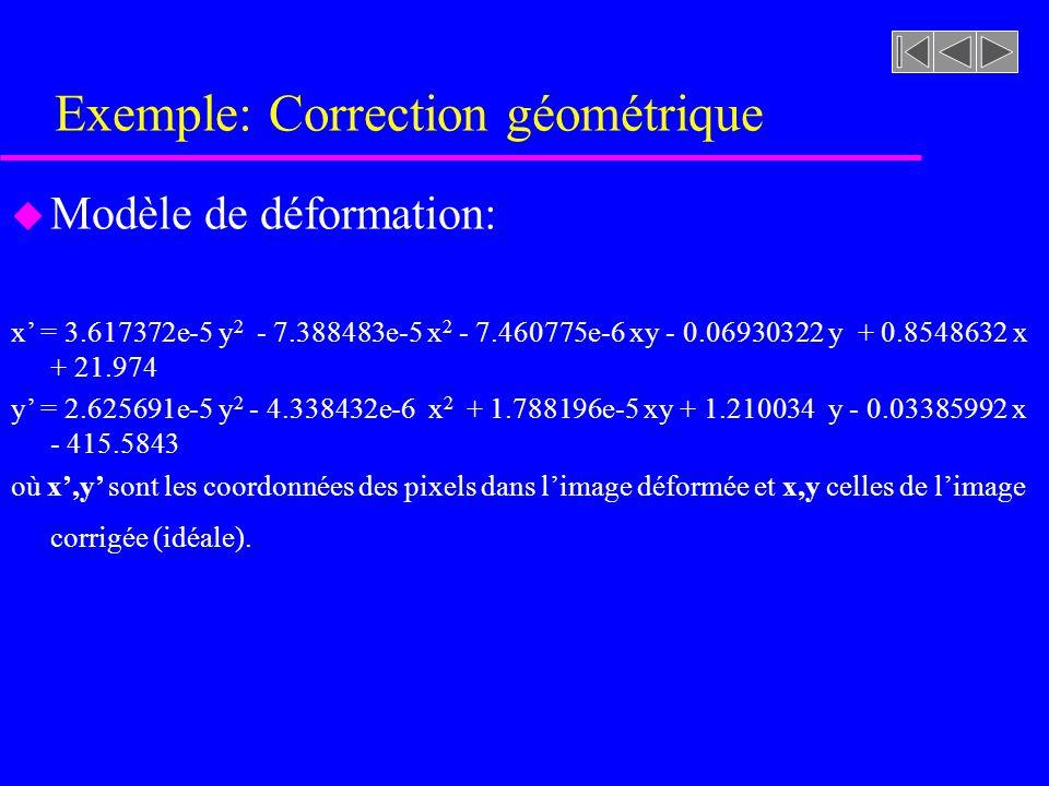 Exemple: Correction géométrique u Modèle de déformation: x = 3.617372e-5 y 2 - 7.388483e-5 x 2 - 7.460775e-6 xy - 0.06930322 y + 0.8548632 x + 21.974