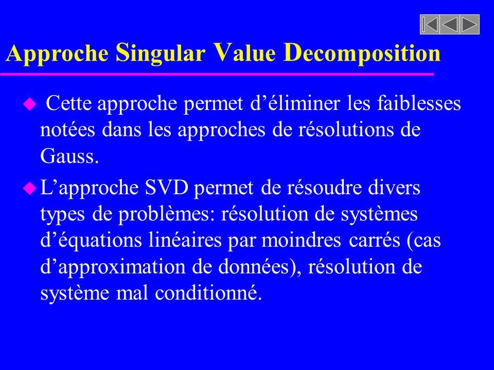 Approche S ingular V alue D ecomposition u Cette approche permet déliminer les faiblesses notées dans les approches de résolutions de Gauss. u Lapproc