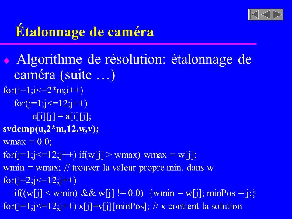 Étalonnage de caméra u Algorithme de résolution: étalonnage de caméra (suite …) for(i=1;i<=2*m;i++) for(j=1;j<=12;j++) u[i][j] = a[i][j]; svdcmp(u,2*m