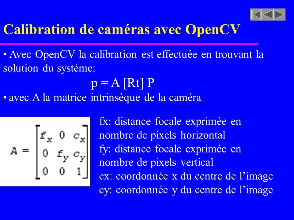 Calibration de caméras avec OpenCV Avec OpenCV la calibration est effectuée en trouvant la solution du système: p = A [Rt] P avec A la matrice intrins
