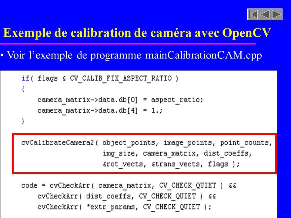 Exemple de calibration de caméra avec OpenCV Voir lexemple de programme mainCalibrationCAM.cpp