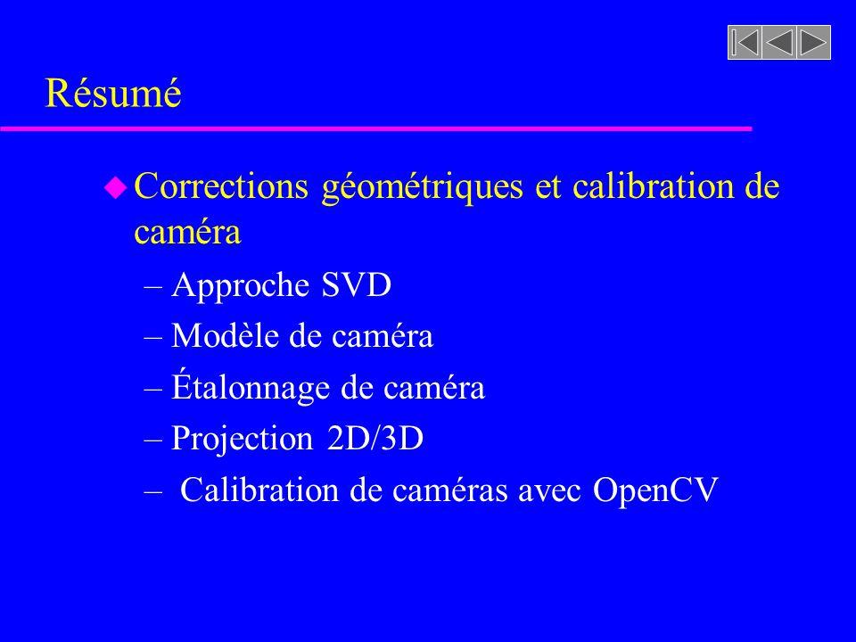 Résumé u Corrections géométriques et calibration de caméra –Approche SVD –Modèle de caméra –Étalonnage de caméra –Projection 2D/3D – Calibration de ca
