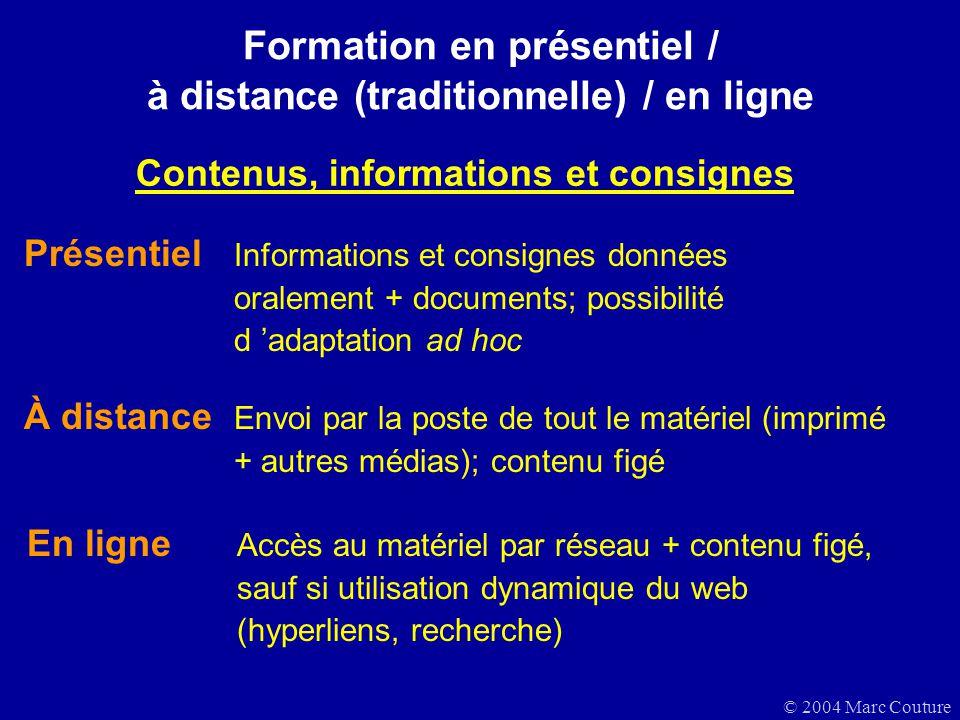 © 2004 Marc Couture Formation en présentiel / à distance (traditionnelle) / en ligne À distance Envoi par la poste de tout le matériel (imprimé + autr