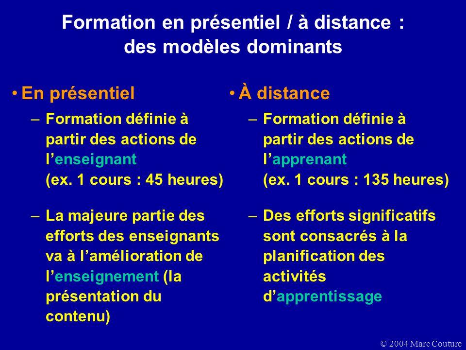 © 2004 Marc Couture Formation en présentiel / à distance : des modèles dominants En présentiel –Formation définie à partir des actions de lenseignant