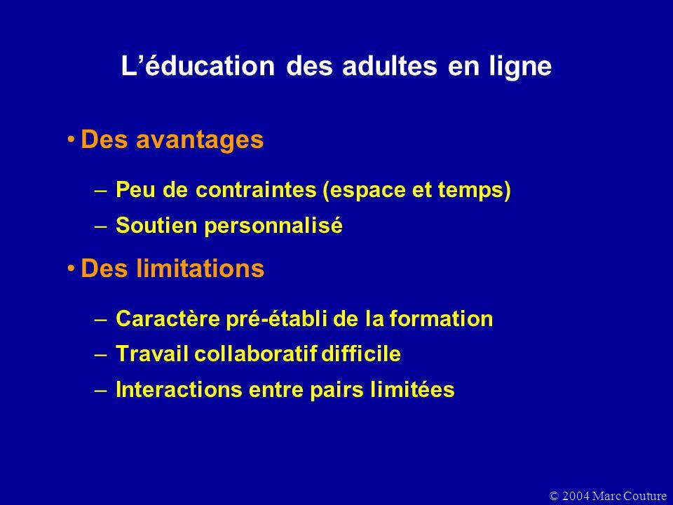 © 2004 Marc Couture Léducation des adultes en ligne Des avantages –Peu de contraintes (espace et temps) –Soutien personnalisé Des limitations –Caractè