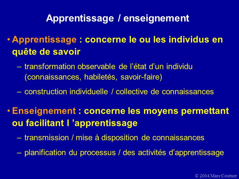 © 2004 Marc Couture Apprentissage / enseignement Apprentissage : concerne le ou les individus en quête de savoir –transformation observable de létat d