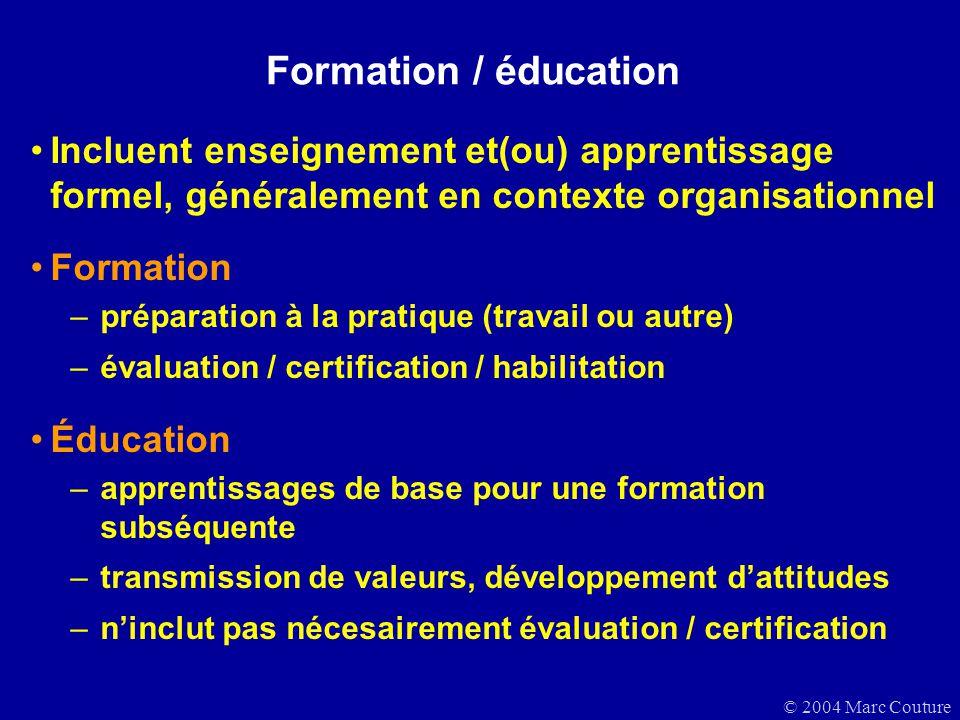 © 2004 Marc Couture Formation / éducation Incluent enseignement et(ou) apprentissage formel, généralement en contexte organisationnel Formation –prépa