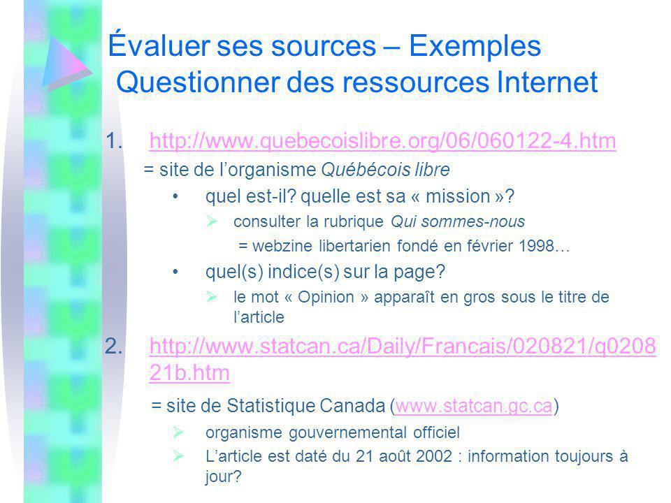 Évaluer ses sources – Exemples Questionner des ressources Internet 1.http://www.quebecoislibre.org/06/060122-4.htmhttp://www.quebecoislibre.org/06/060