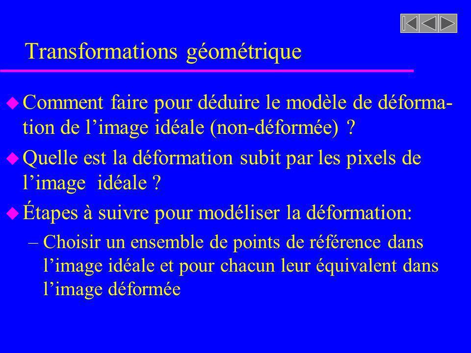 Transformations géométrique u Comment faire pour déduire le modèle de déforma- tion de limage idéale (non-déformée) ? u Quelle est la déformation subi