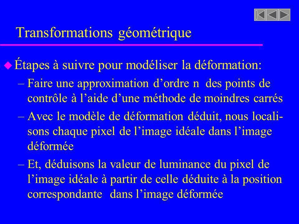 Transformations géométrique u Étapes à suivre pour modéliser la déformation: –Faire une approximation dordre n des points de contrôle à laide dune mét