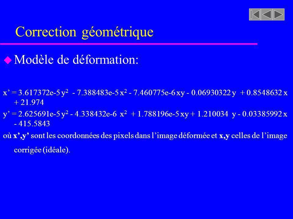 Correction géométrique u Modèle de déformation: x = 3.617372e-5 y 2 - 7.388483e-5 x 2 - 7.460775e-6 xy - 0.06930322 y + 0.8548632 x + 21.974 y = 2.625