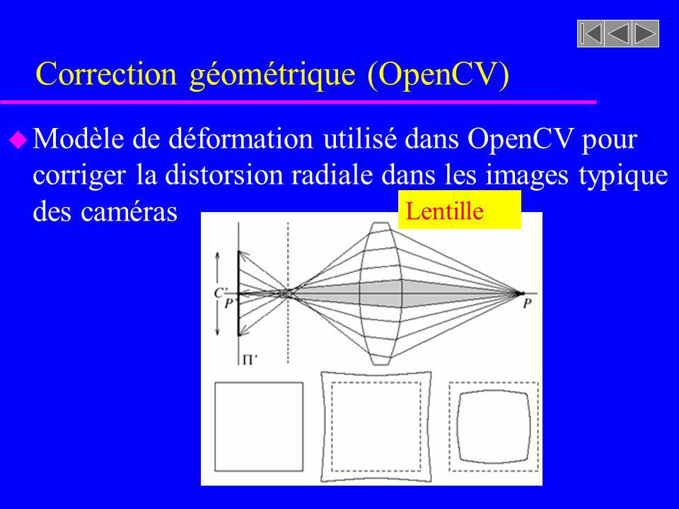 Correction géométrique (OpenCV) u Modèle de déformation utilisé dans OpenCV pour corriger la distorsion radiale dans les images typique des caméras Le